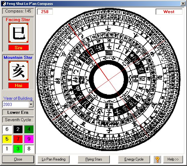 the ultimate feng shui tool giving readings for every degree on the compass built in to the program so you dont need a real lo pan any ordinary calculate feng shui kua